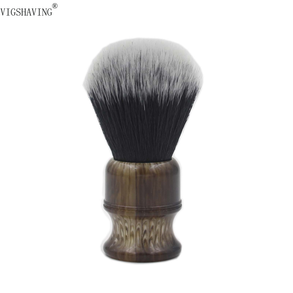 VIGSHAVING Faux Horn Resin Handle Men Synthetic Hair Shaving Brush