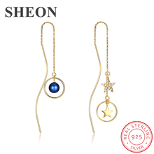 SHEON Asymmetric Earrings 100% 925 Sterling Silver Long Personality Irregular Drop For Women Jewelry