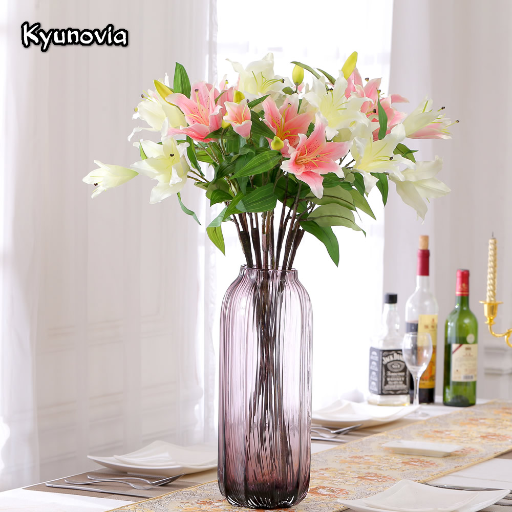 Home Floral Decor: Kyunovia Lily Flower Artificial Lilies Branch 4 Heads Real