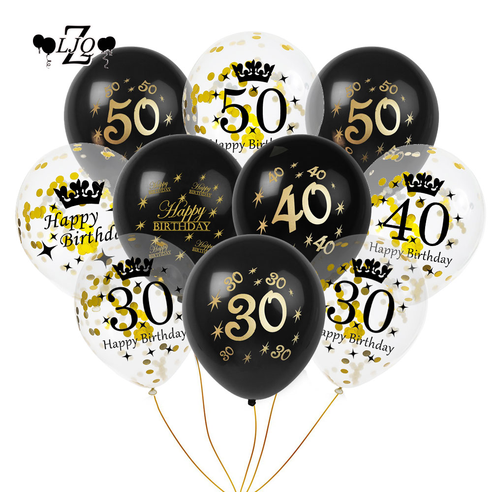 ZLJQ 10pcs Black Gold Printing Balloons Happy Birthday Decorations