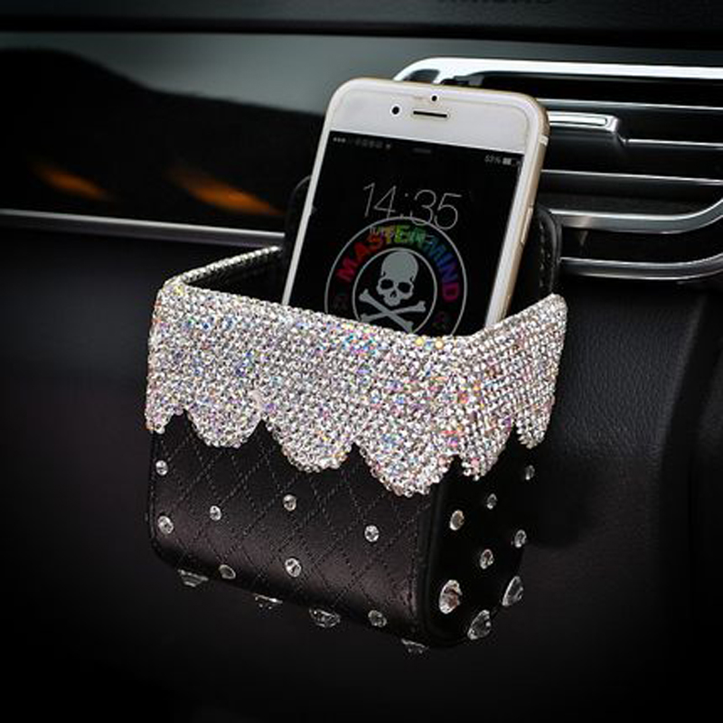 Leather Car Storage Box Crystal Rhinestones Diamond Auto Outlet Air Vent Cosmetics Case Mobile Phone Bag Pouch Bucket For Girls