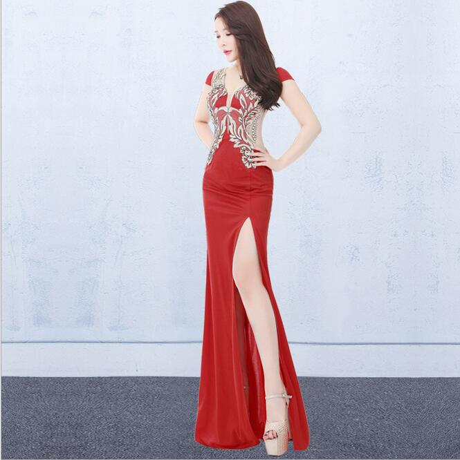2018 Embroidery Wedding Party Dresses Elegant High Split Sexy Evening Dress Robe De Soiree Fashion Long Prom Gowns T016