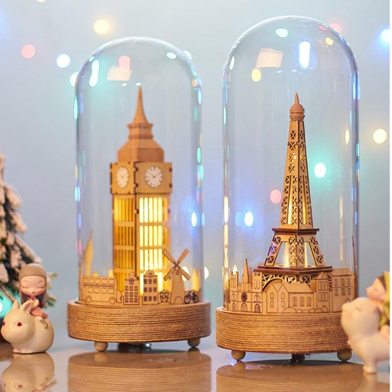 Couvercle en verre nordique Big Ben boîte à musique avec lumière LED créatif lait café magasin décorations de bureau saint valentin cadeau X1911
