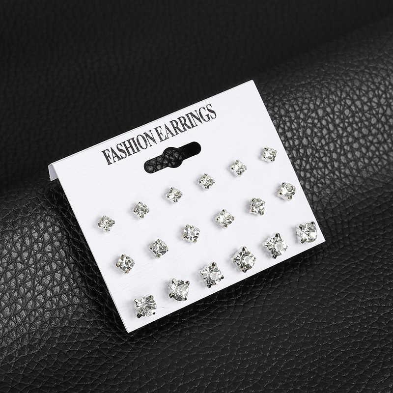 12 คู่/เซ็ตเลียนแบบเพิร์ลสตั๊ดต่างหูชุดสำหรับผู้หญิงสีดำสีขาวสีแฟชั่นหูสำหรับแฟน Brincos