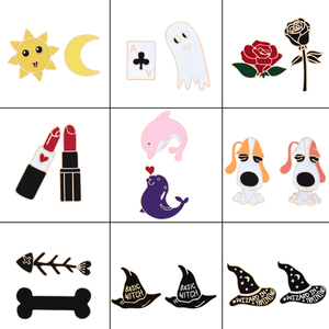 2Pcs/set Witch Style Hat Brooch Badges Poker Ghoul Pokemon Dolphin Whale Shark Bone Skeleton Pin Flower Dog Sun Moon Lipstic Pin(China)
