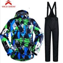 Wild Snow Outdoor Waterproof Windrpoof Winter Men's Ski Suit Waterproof Skiing/Snow/Skate Sports Skiing Jacket Sets pants