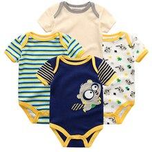 4 шт./лот; Детский комбинезон для мальчиков и девочек с короткими рукавами и милым принтом; комплект летней одежды; roupa menina; хлопковая одежда для новорожденных