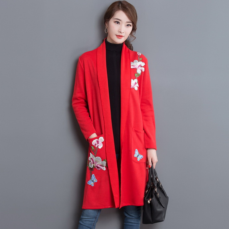Plus Size XXL Plum Blossom Embroidery Cardigan Sweater 2018 Autumn New Medium-Long Loose Long-Sleeve Knitted Shawl Coat L1350 ...