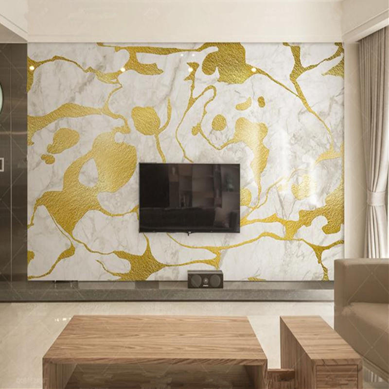 Custom 3D Photo Wallpaper Wall Murals Nordic Painting Luxury Murals Marble TV Background Wall White Gold Wallpaper Stone Texture custom mural 3d flooring picture pvc self adhesive european style marble texture parquet decor painting 3d wall murals wallpaper