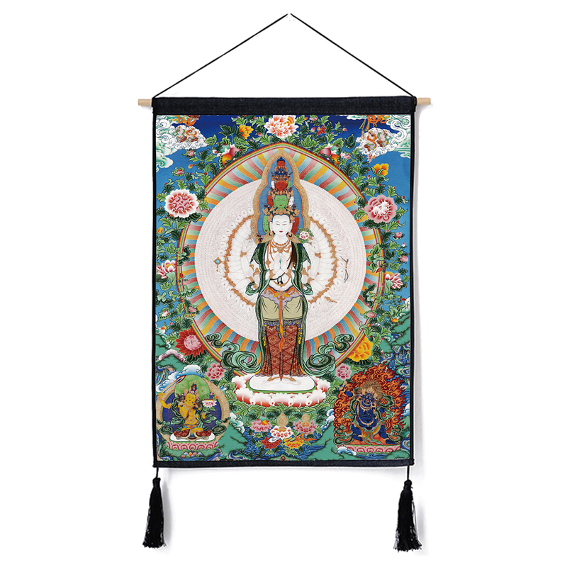 Image 3 - Traditional Thanka Beautiful Buddhist Scroll Painting Home Decor Wall Hanging Tapestry Cotton Linen Scroll Painting with Tassels-in Painting & Calligraphy from Home & Garden