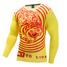 Brand compression T-shirt 2017 personality 3D printing men yellow tiger mountain long sleeve tight men T-shirt quick drying clot(China)