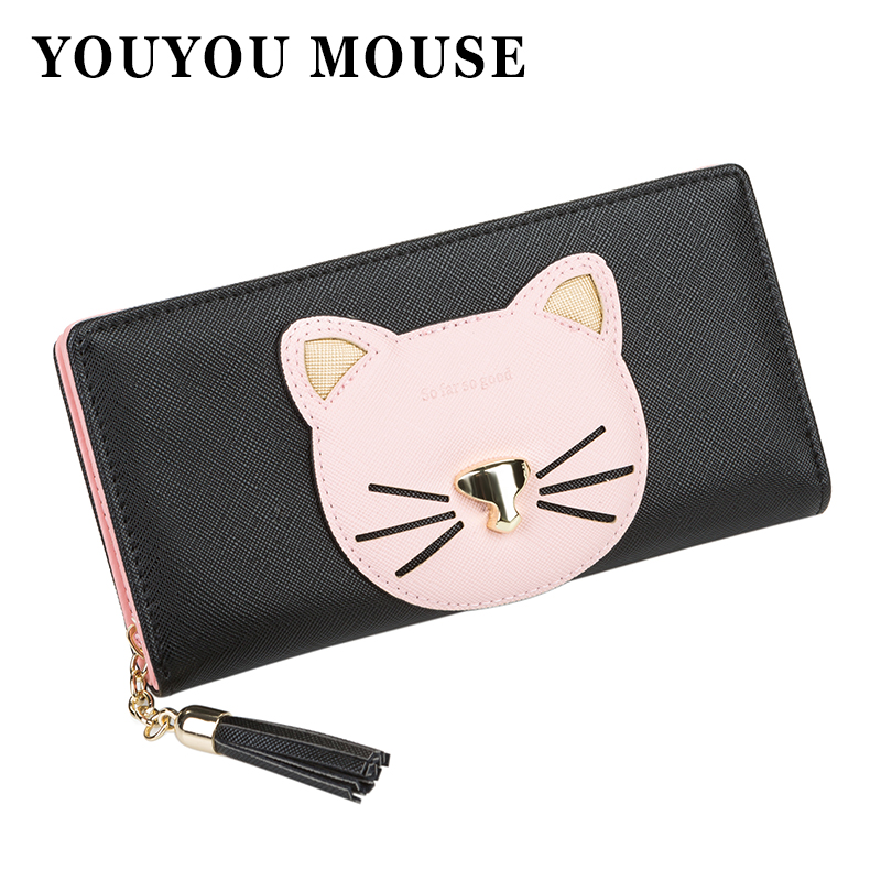 YOUYOU MOUSE Cartoon Style Ladies Wallet Minimalist Cute Cat Patterns Purse Long Hit Color Tassels Two Fold Hasp Card Holder youyou mouse fashion cute wallet cartoon embroidery pattern retro purse short section pu leather 2 fold multi card bit wallets