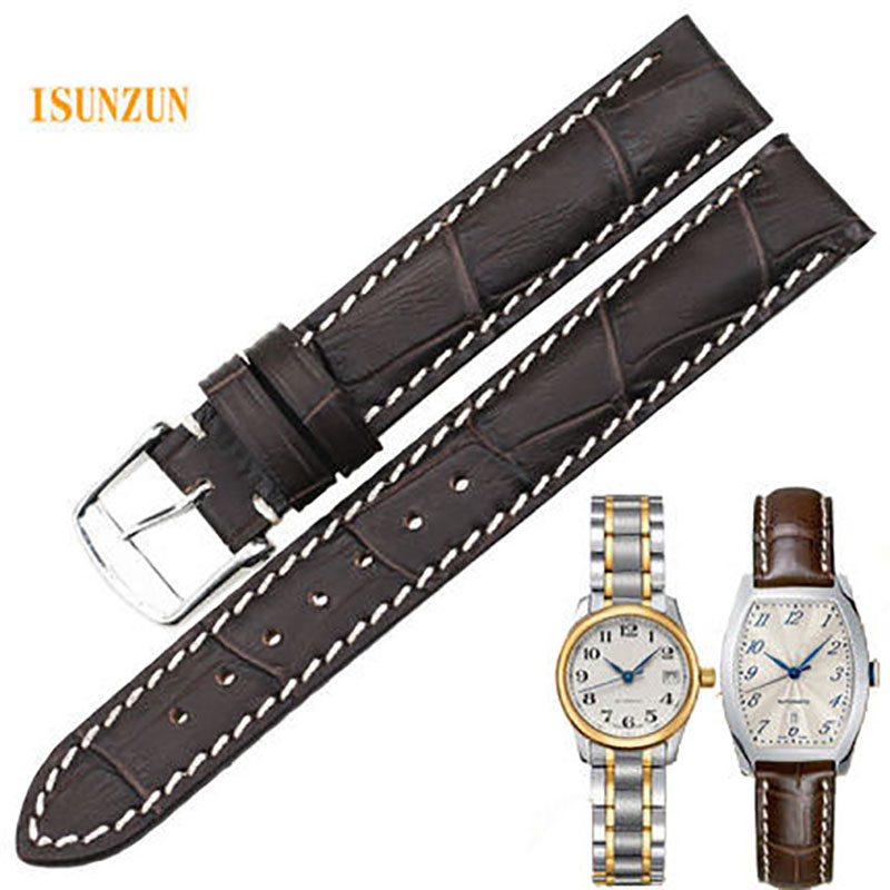 ISUNZUN Women Watch Band For Longines Traditional L2.142 Watchstrape Genuine Leather Watch Strap Cowleather Bracelet isunzun watch band for longines l2 l4 watch strap crocodile skin watchband genuine leather brand durable exquisite bracelet