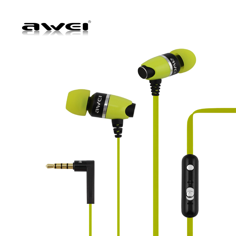 Awei ES-88Hi In-ear Deep Bass Earphone Metal Earbuds Stereo Headset Sports Earphones with Microphone Noise Cancelling