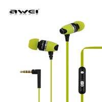 Awei ES-88Hi in-ear graves profundos fone de ouvido de metal fones de ouvido estéreo fone de ouvido esportes fones de ouvido com microfone cancelamento de ruído