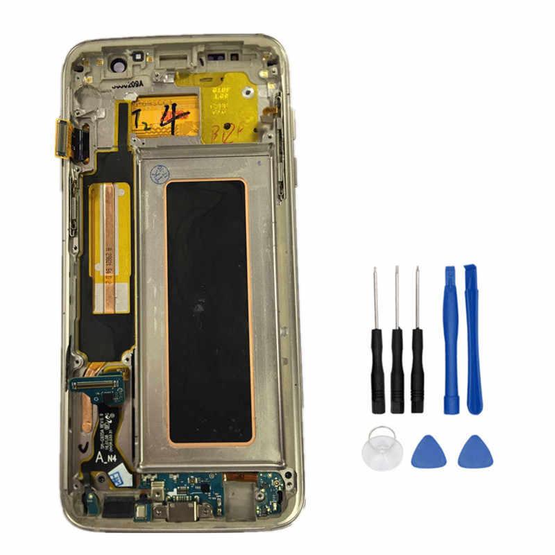 """عالية الجودة قطع غيار سامسونج غالاكسي S7 حافة G935 G935F شاشة الكريستال السائل محول الأرقام بشاشة تعمل بلمس مع الإطار 5.5 """"FHD + أدوات"""