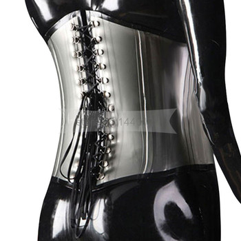 Male Female  Rubber Latex Corset    Front Zipper Back Laced-up Body Waist Binding Band Corset Size Custom Made  BNLCC006