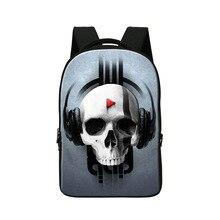 Ghost head printing school backpack for high class students mens skull bakc pack laptop bag women