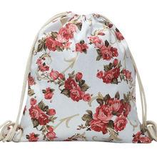 National Women Canvas Drawstring Backpack Newest Vintage College Students School Bagpack Girls Mochila Feminina  Sack Bags