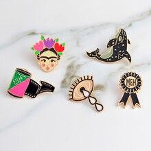 Artista de Mexico Frida Kahlo pins Eye film dolphin brooches Brooch badges Enamel pin denim jacket blouse backpack accessories