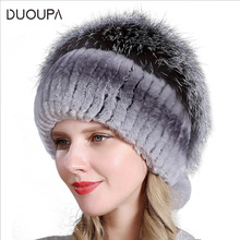 DUOUPA 2019 Hot Sale Fashion Winter Warm Women Knitting Caps Mink hats Vertical weaving with FOX Fur cap winter for women