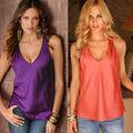 Mulheres da moda Verão Top Tanque Camisas Sem Mangas Fashion Faux Colete De Cetim Camisa Solta V decote Mulher Roupas
