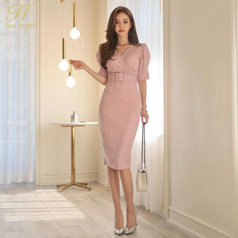 H Han queen, Женская офисная одежда в полоску, летнее сексуальное платье с пышными рукавами и v-образным вырезом, облегающее платье-карандаш, деловое платье, Прямая поставка