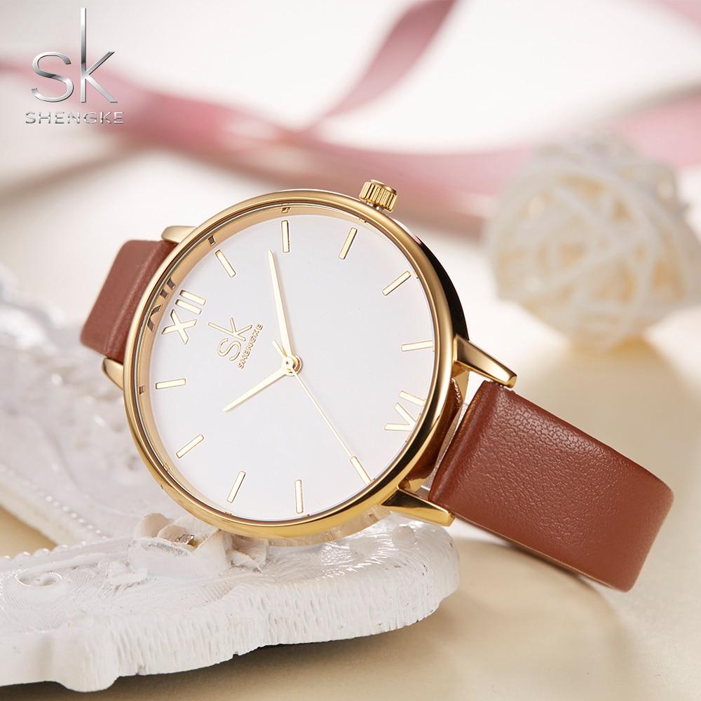 Shengke Brand Women Relojes de pulsera de cuero simple Lady Gold - Relojes para mujeres