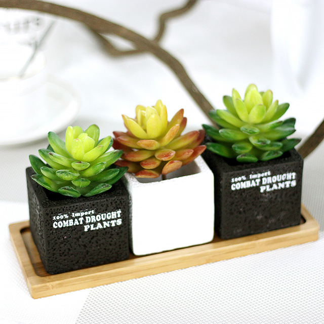 Artificial Succulents Mini Fake Plants Fake Succulents Artificial Bonsai  Plastic Plants Home Wedding Office Decor Arrangement