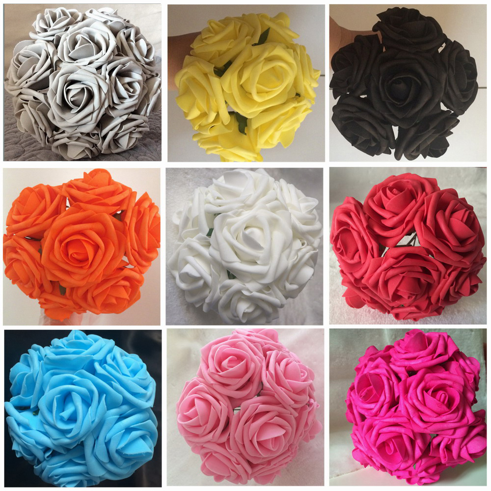 100X Artificial Flowers Royal Blue Roses For Bridal Bouquet Wedding ...