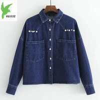 New Spring Autumn Women Denim Shirt Jacket Short Style Outerwear Solid Color Pearl Buckle Cowboy Coats