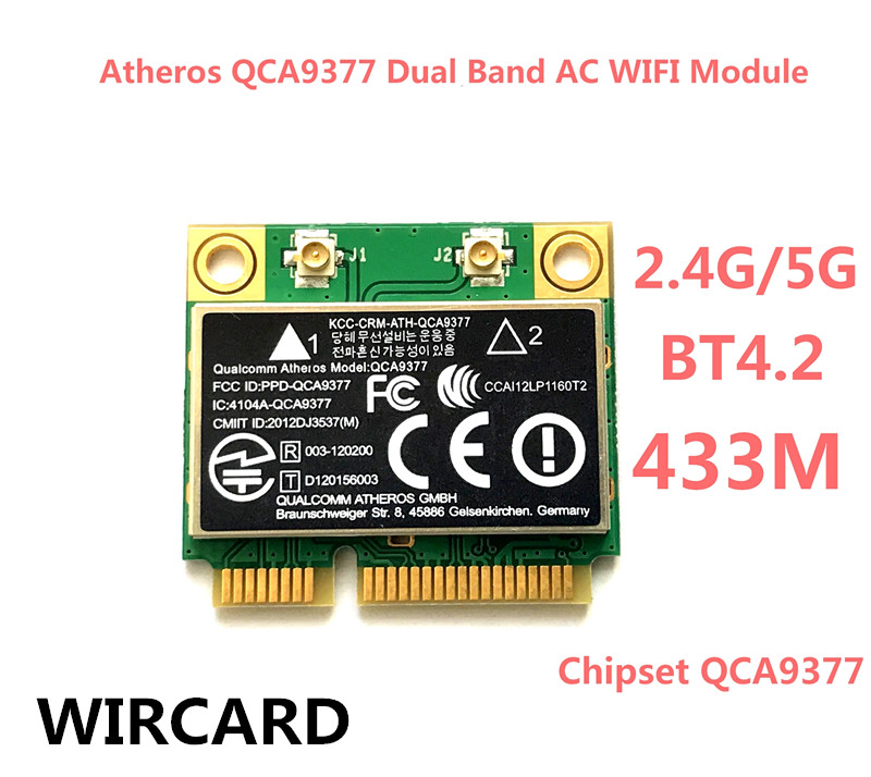 WIRCARD Atheros QCA9377 Dual Band AC WIFI Module WIFI Adapter mini PCI-E 2.4G/5G for brand new mini pci e compex wle600vx wireless network card atheros qca9882 2 2 802 11ac 867mbps 2 4g 5g module