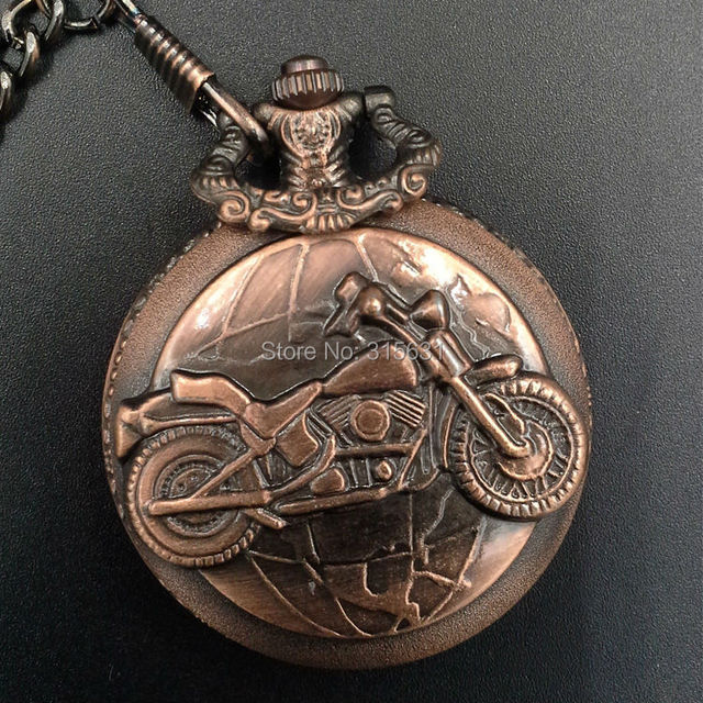 New Motorcycle Engraved Quartz Mens Pocket Watch Chain