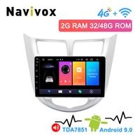 Navivox 9 2.5D IPS 2 Din Android 9.0 Car DVD GPS For Hyundai Solaris Accent I25 Verna 2011 2015 Radio Tape Recorder Car Radio