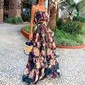 Mulheres verão boho praia duas peças conjunto de saia sexy top colheita + maxi saia longa floral impresso babados cintura alta casual duas peças