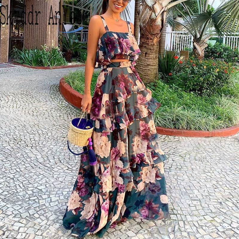 Women Summer Boho Beach Two Piece Set Sexy Skirt Set Crop Top+Maxi Long Skirt Floral Printed Ruffles High Waist Casual Two Piece
