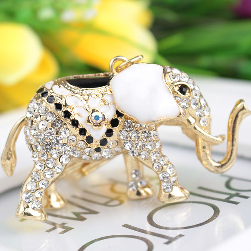 fashion rhinestone Elephant Ms girl women keychain bag pendant quality chic Car key chain ring holder Jewelry