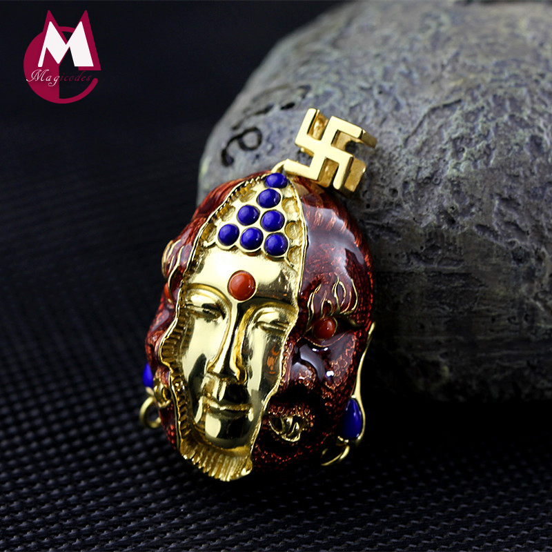 Ethnic Jewelry Women Men Buddhism Pendant 100% 925 Sterling Silver Necklace Exquisite Gemstone Lapis Vintage Necklace SP15 стоимость