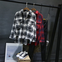 Women Plaid Shirt Checked Long Sleeve Casual Loose Fit Freesized Cotton Shirts Red Black White Plaid