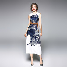 купить Women Dress Bodycon Plus Size Long Dress High-end Summer Slim Print Sleeveless Fashion High Street Sashes Mid-Calf O-Neck Dress по цене 1359.29 рублей