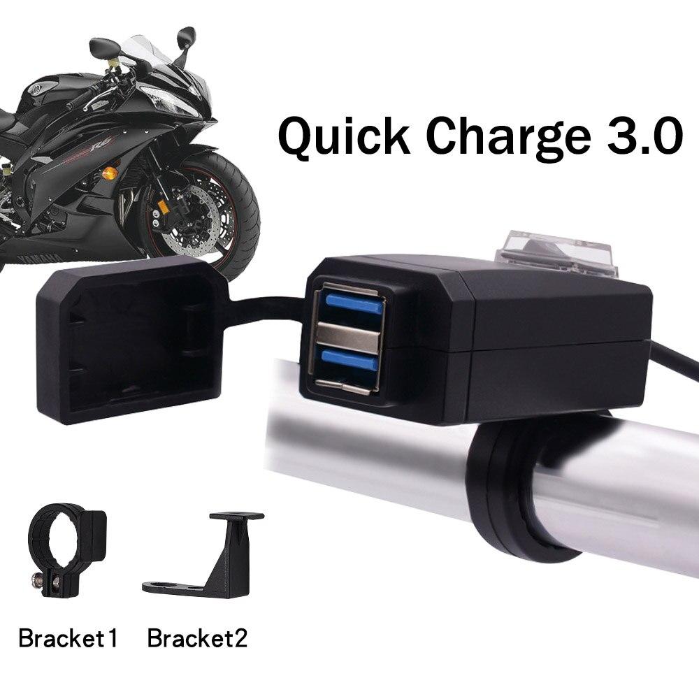 Universal QC3.0 USB cargador de motocicleta equipo Moto Dual USB Cambio rápido 12 V adaptador de fuente de alimentación para iphone Samsung Huawei