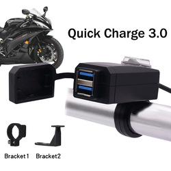 WUPP Universal QC3.0 USB Motorcycle Charger Dual USB Quick Change 12V Power Supply Adapter for iphone Samsung Huawei