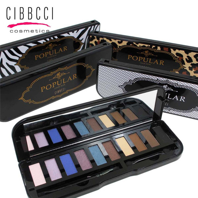 Novas 1 PCS de Alta Qualidade 10 cores de Maquiagem Shimmer Matte Eyeshadow Palette Com Escova Conjunto de Maquiagem Nua Sombra de Olho Cor de Terra ferramenta