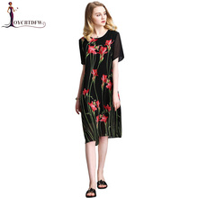 L-4XL Plus Size Summer Print Dress Women 2018 New Fashion Short Sleeve Round Neck Chiffon Dress Temperament Package Hip Dresses цена 2017