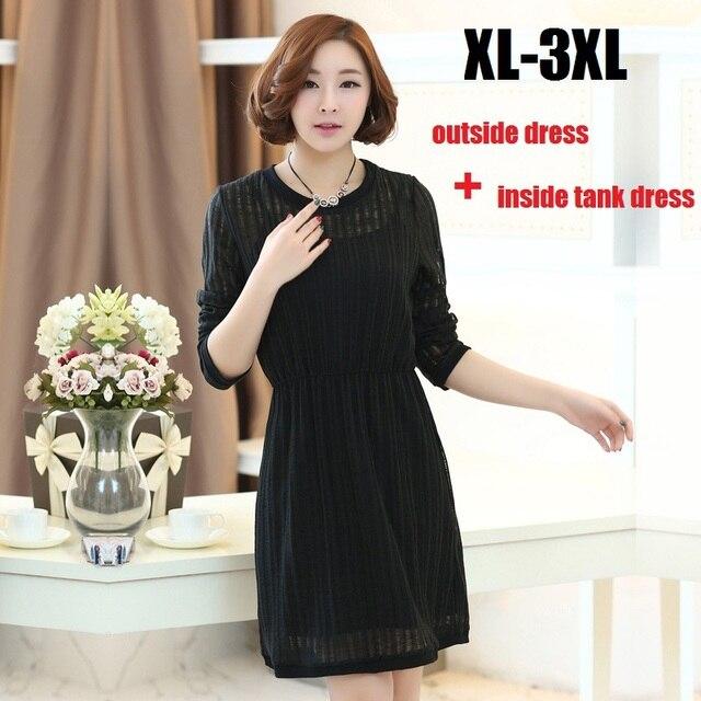 2015 vrouwen plus size lente zomer twinset elastische taille flare Jurk + tank jurk junior Casual elegante zoete Jurk vestido XXXL637