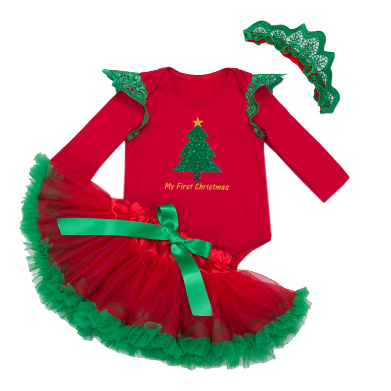 Long Sleeve Xmas Jumpsuit Newborn Baby Girl Clothes Bebes 1st Christmas Outfit Tutu Skirt Party Clothing Sets Cotton Infant sets