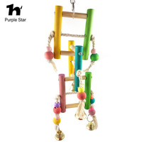 Purple Star Bird Toy Cotton Ropes Wood Ladder Chewing Parrot Cage Pendant Decor Macaw Cockatiels Playing