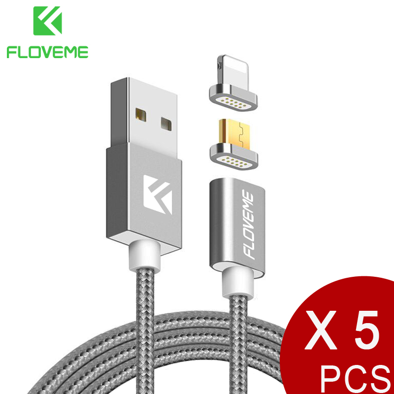 FLOVEME Magnetic Cable For iPhone 7 8+Micro USB Cable Magnet Charger 1m Phone Cables For iPhone Android Cabo Wholesale 5pcs/lot