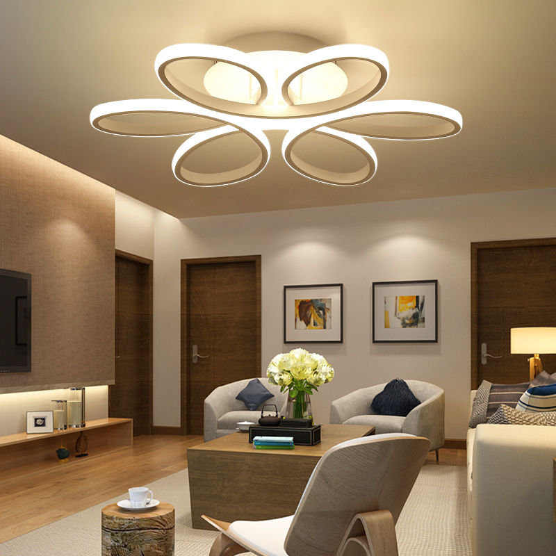 Post Modern LED Ceiling Lamp Home Living Room White Light Bedroom Kitchen Chandelier Luminaires CE Bar Shape Petal Diamond