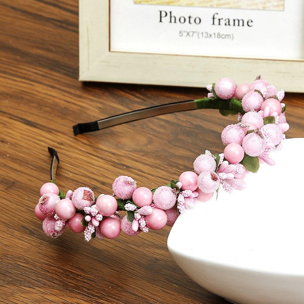2019 Flower Hair Accessories Crown Wedding Berry Flower Turban Hairband Party Headband Women Girls White   Headwear   Harajuku Cute